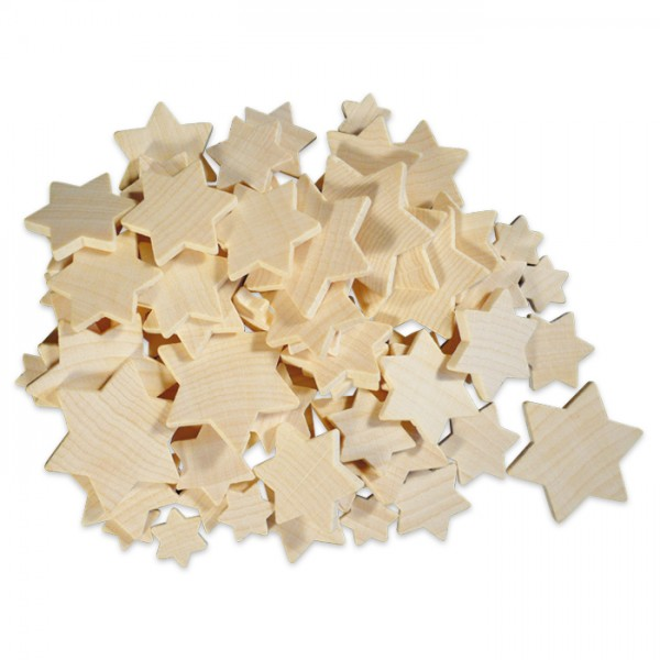 Sternenmischung Holz ca. 3mm 1,2-4cm 70 St. natur