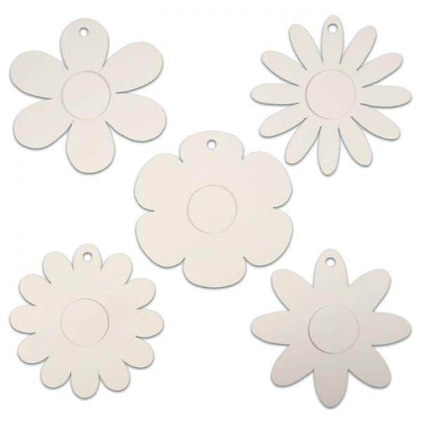 Blumen-Aufhänger Karton 15 St. weiß 5 Designs à 3 St., Ø20cm, 400g/m²