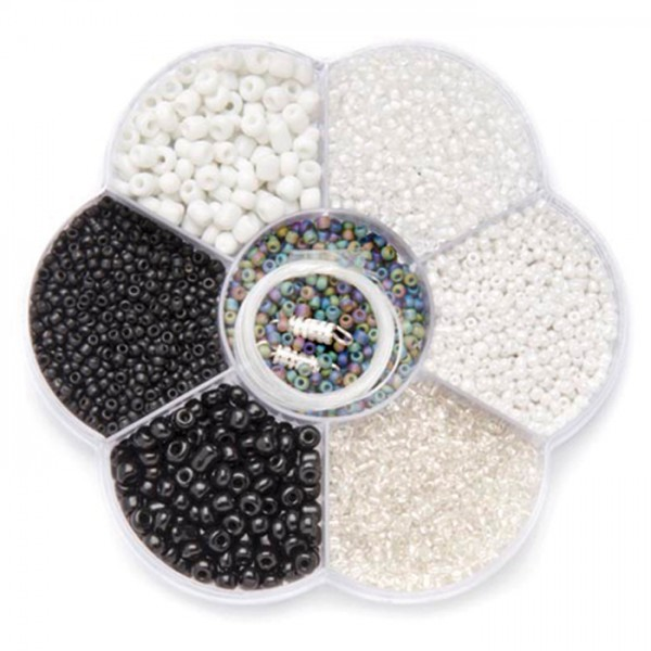 Rocailles Glas 2-4mm 90g schwarz-weiß mix inkl. Zubehör, Lochgr. ca. 0,7-1,5mm