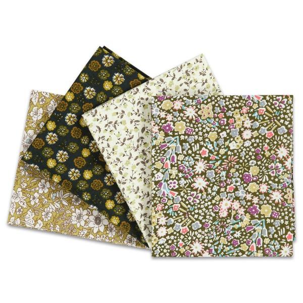 Patchwork-Stoff-Paket 4 Zuschnitte à 45x55cm grün 100% Baumwolle, 100g/m²