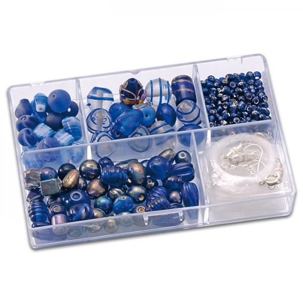 Schmuckbox Glasperlen & Zubehör ca. 80g blau 3-16mm, Lochgr. ca. 1-1,5mm
