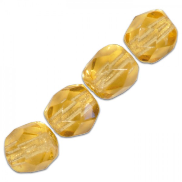 Facettenschliffperlen 6mm 50 St. topas transparent, feuerpoliert, Glas, Lochgr. ca. 1mm