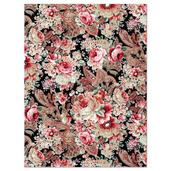 Decoupagepapier Rosen rot/weiß/schwarz von Décopatch, 30x40cm, 20g/m²