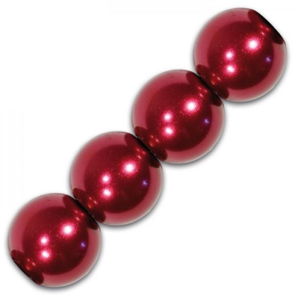 Wachsperlen 6mm 60 St. rot Kunststoff, Lochgr. ca. 1mm