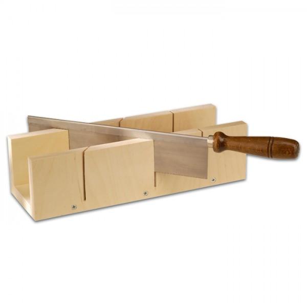 Leistensäge 9cm Schnitttiefe Holz natur mit Gehrungswinkellade, Tiefe 65mm, Breite 70mm