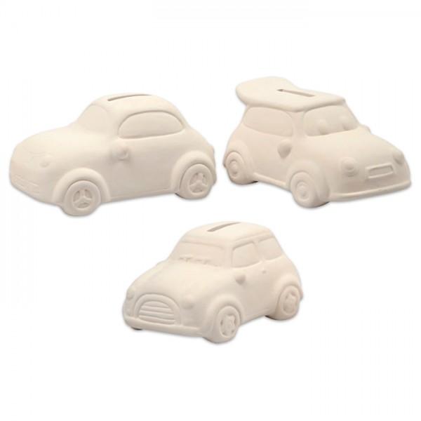 Spardose Auto Terrakotta ca. 125x55x78mm weiß Modell kann variieren