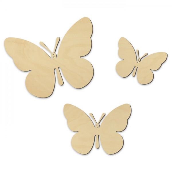 Schmetterlinge Holz 4mm ca. 10,5/14/19cm 3 St. mit Bohrung, natur