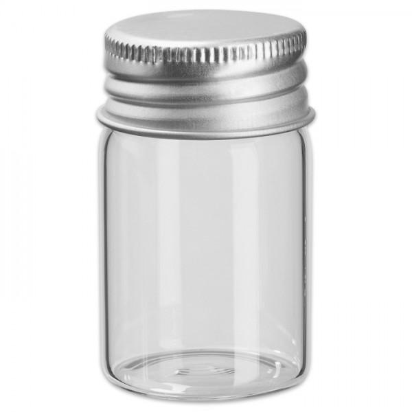 Mini-Glasröhrchen 30x50mm 3 St. mit Schraubverschluss aus Metall