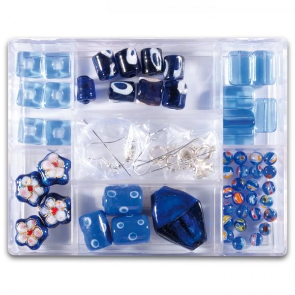 Glasperlen-Mix ca. 7-15mm ca. 70g blau Box 7 Fächer, inkl. Zubehör, Lochgr. ca. 0,7-1mm