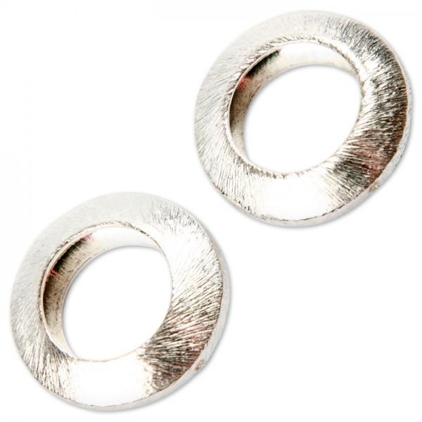 Kreis Metall gebürstet 20x20x6mm versilbert 2 seitliche Fädell.mit ca. 1,2mm