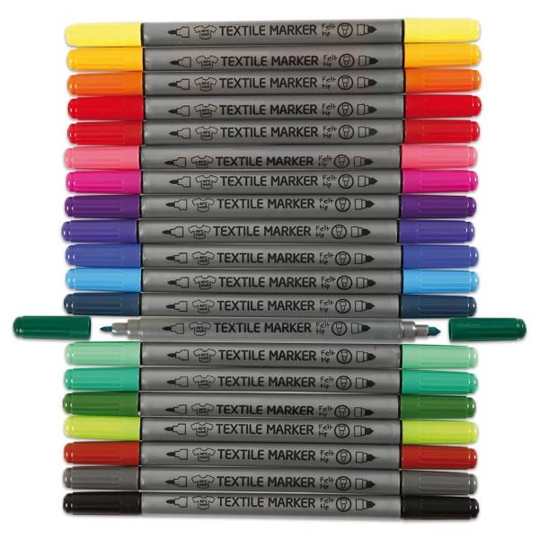 Textilmalstifte Doppelspitze 20 St./Farben Strichbreite 2,3/3,6mm