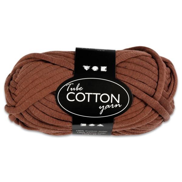 Baumwoll-Schlauchgarn 100g braun 100% Baumwollen mit Nylonfüllung, für Nadel Nr. 8-10