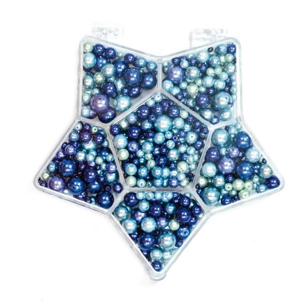 Glaswachsperlenbox Stern 3-14mm 150g blau-ton Kunststoff, Lochgr. ca. 0,5-1mm