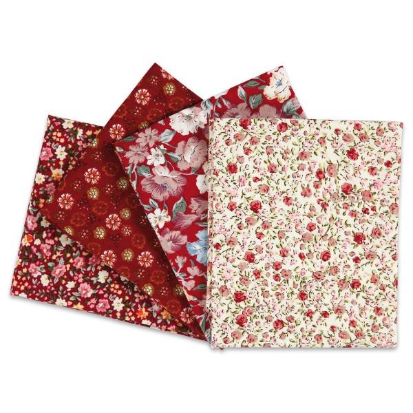 Patchwork-Stoff-Paket 4 Zuschnitte à 45x55cm weinrot 100% Baumwolle, 100g/m²
