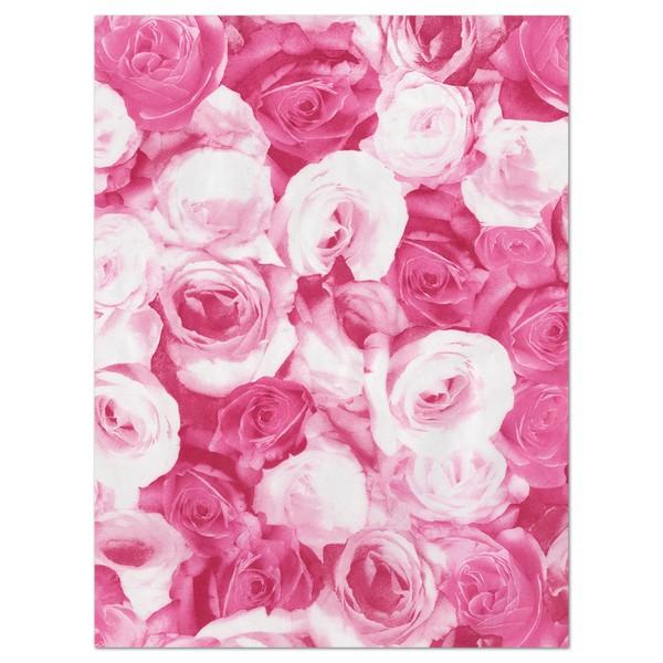 Decoupagepapier Rosen pink/weiß von Décopatch, 30x40cm, 20g/m²