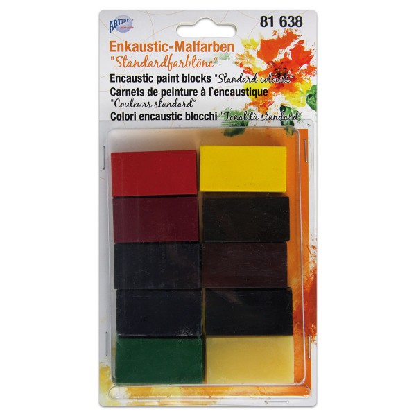 Enkaustic-Malblöcke-Set 10 St. Standardfarbtöne Block à ca. 10g, 45x25x10mm