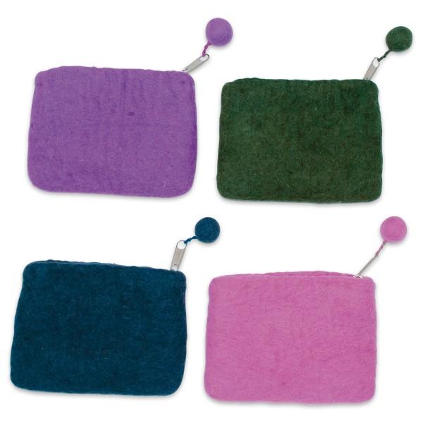 Filz-Geldbörsen ca. 10x14cm 8 St./4 Farben 100% Wolle, mit Reißverschluss