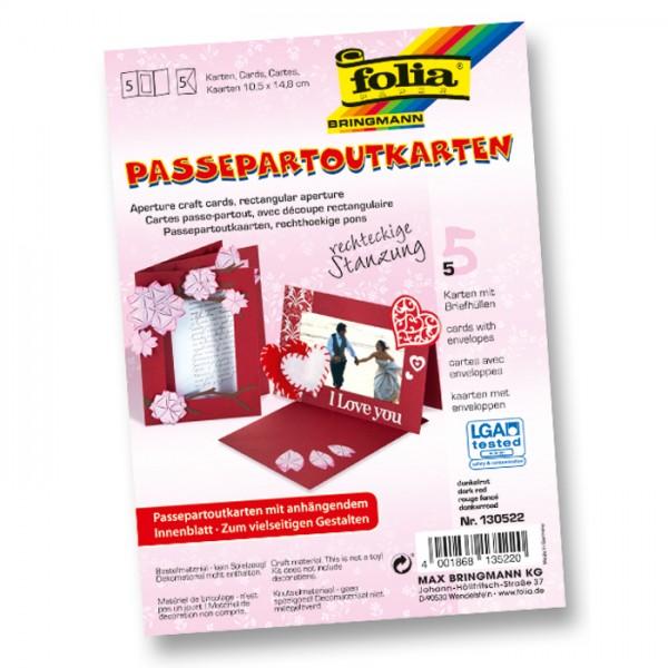 Passepartoutkarten DIN A6 5 St. Rechteck dunkelrot inkl. Kuvert&Einlegeblatt, 220g/m²