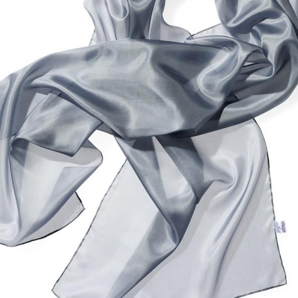 Schal Seide Pongé 05 180x45cm grau 100% Seide