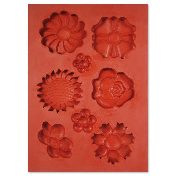 3D-Silikon-Gießform Blumen 8 Motive, ca. 2,5x5,5cm