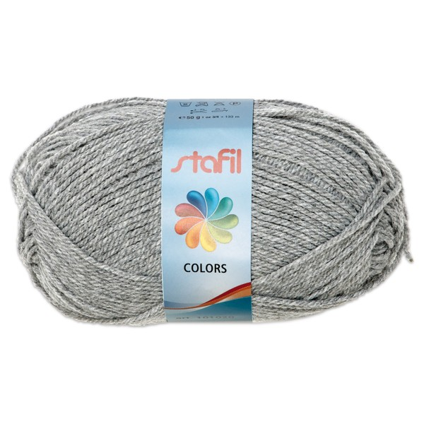 Wolle Colors 50g hellgrau LL ca.133m, Nadel Nr. 3, 100% Polyacryl