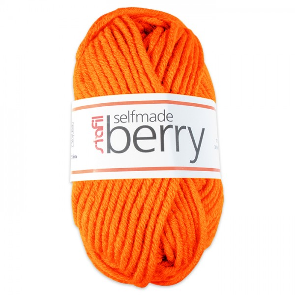 Wolle Berry 6-7mm 50g neon-orange 70% Polyacryl, 30% Wolle