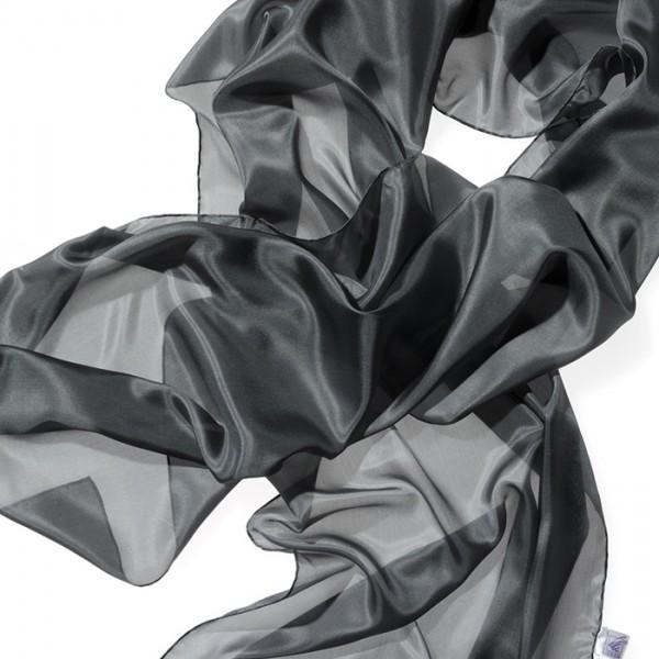 Schal Seide Pongé 05 180x45cm anthrazit 100% Seide