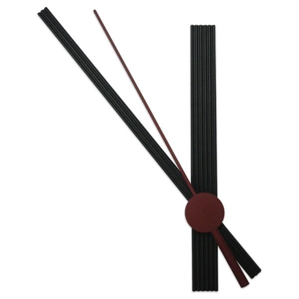 Uhrzeiger Kunststoff 50/75mm schwarz Stabform mit Sekundenzeiger