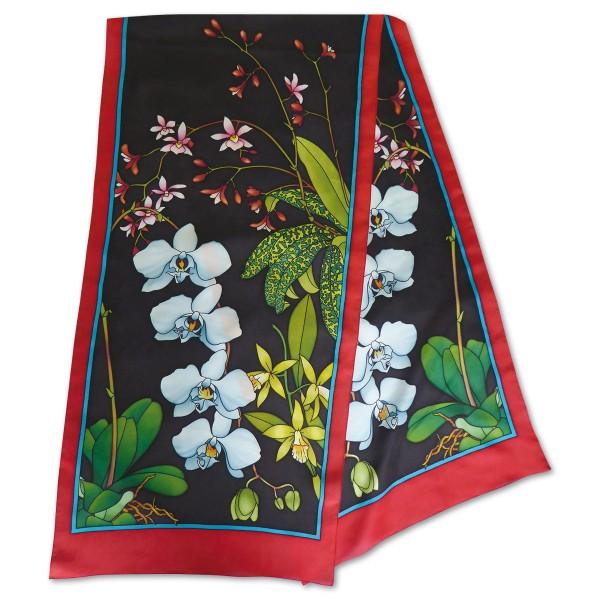 Schal Gutta schwarz ca.180x45cm Orchidee 100% Seide Pongé 09, naturweiß
