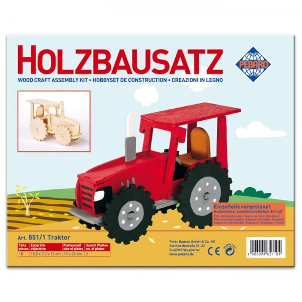 Holzbausatz Traktor 15,5x7x11cm 18 Teile vorgestanzt, zum Zusammenstecken
