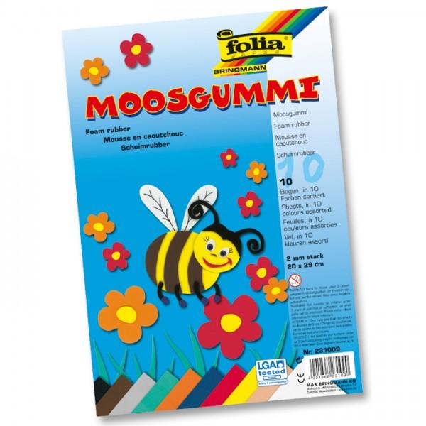 Moosgummi-Set 2mm 20x29cm 10 Bl./Farben