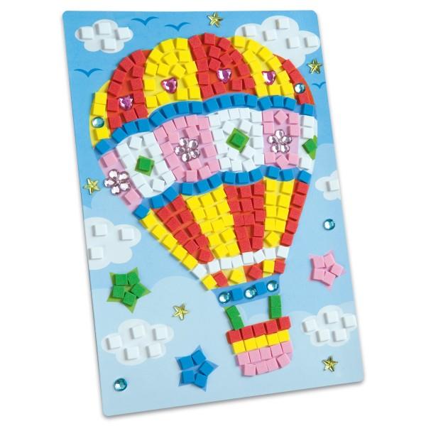 Moosgummi-Mosaik ca. 17x28,5cm Ballonfahrt 384 Moosgummisticker, Schmucksteine, Pappaufsteller