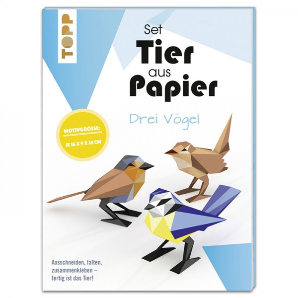 Tier aus Papier Set ca. 16x9x28cm 3 Vögel 15 Bl. à 20,9x27,9cm