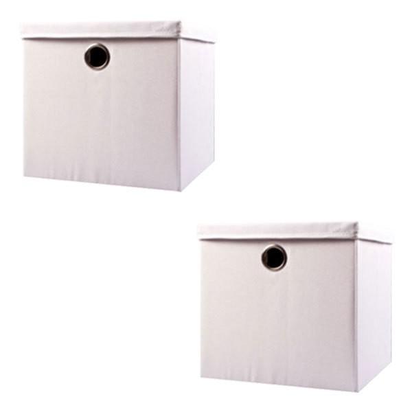 Echtwerk EW-SB-0485 Faltbox Rack 2er Set Weiß Aufbewahrungsbox