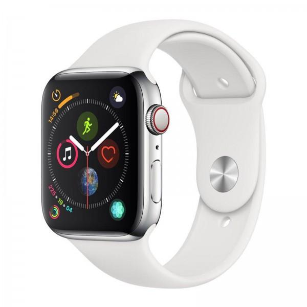 Apple Watch Series 4 LTE 44mm Edelstahl Sportband weiß