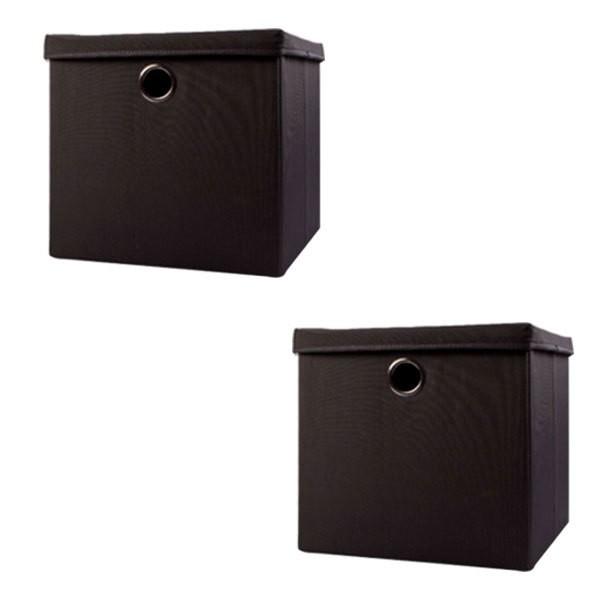Echtwerk EW-SB-0495 Faltbox Rack Schwarz 2er Set Aufbewahrungsbox