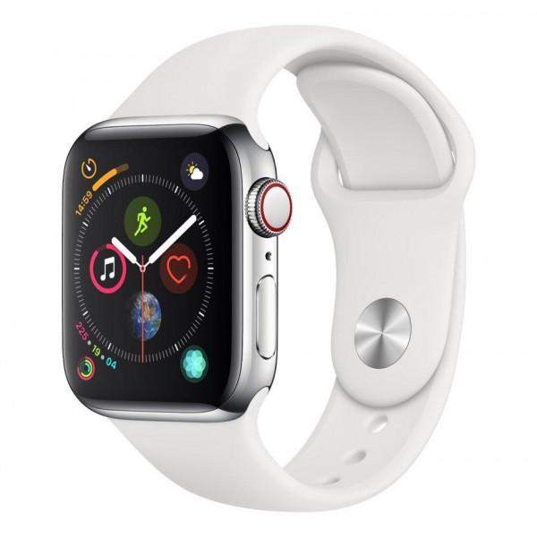 Apple Watch Series 4 LTE 40mm Edelstahl Sportband weiß