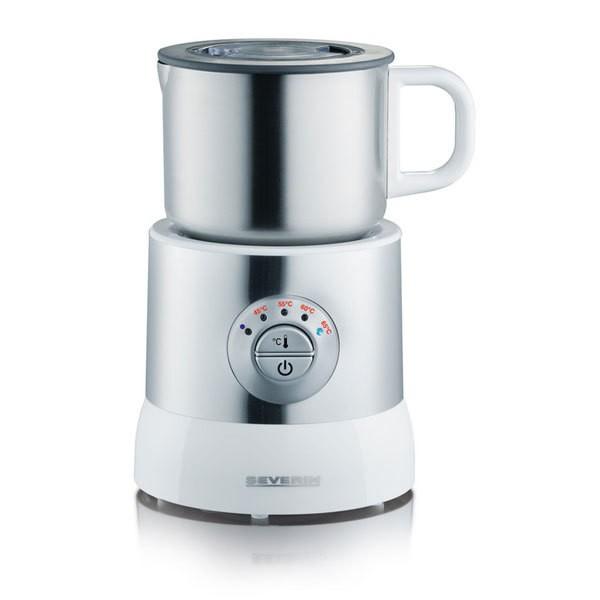 Severin SM 9685 Milchaufschäumer Silber / weiß Milchschäumer Milchbehälter