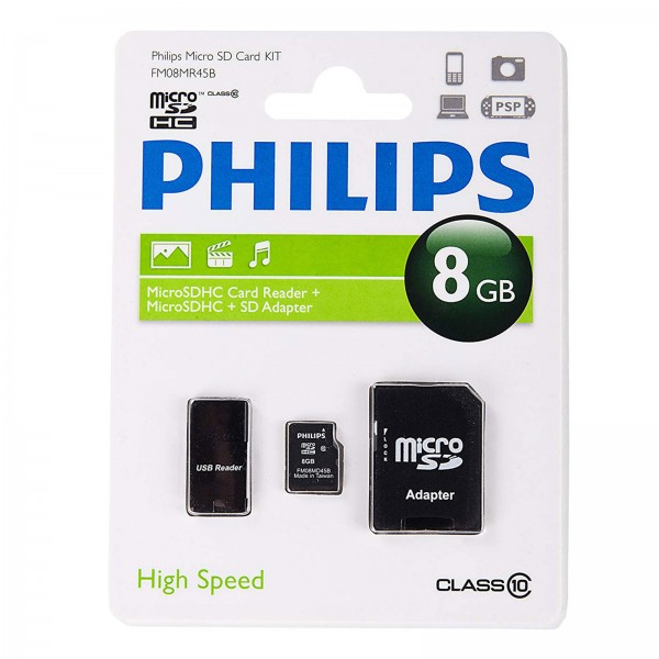 Philips micro SDHC CL10 3in1 8GB