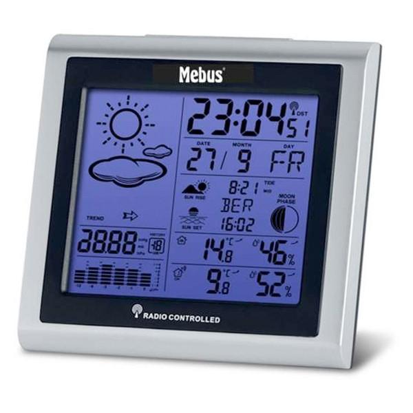Mebus 40283 Funk-Wetterstation mit Wetterprognose silber/schwarz