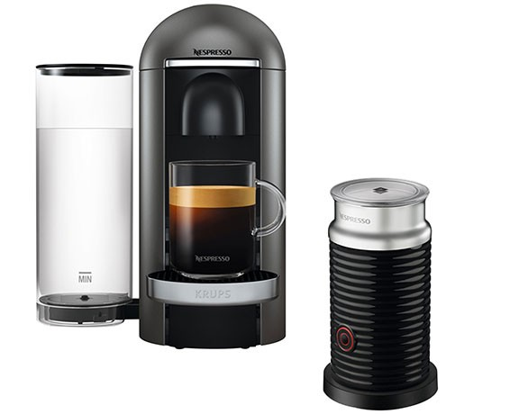Krups XN 900T Nespresso Vertou Plus grau + Aeroccino 3 Milchaufschäumer