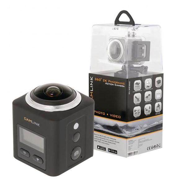 Camlink CL-AC360 360 Full-HD-Actionkamera 2K WLAN mit Mikrofon Panorama