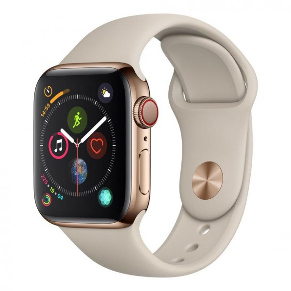 Apple Watch Series 4 LTE 44mm Edelstahl Sportband stein