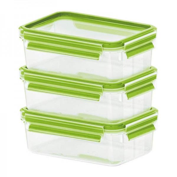 EMSA 515583 CLIP&CLOSE 2.0 Frischhaltebehälter 3er Set 0,55 L grün