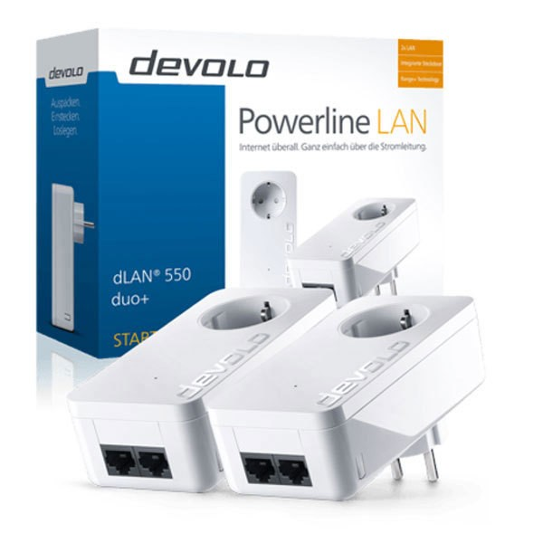 Devolo DLAN 550 Duo+ Starter Kit Steckdose Powerline Netzwerk LAN 500 Mbit/s