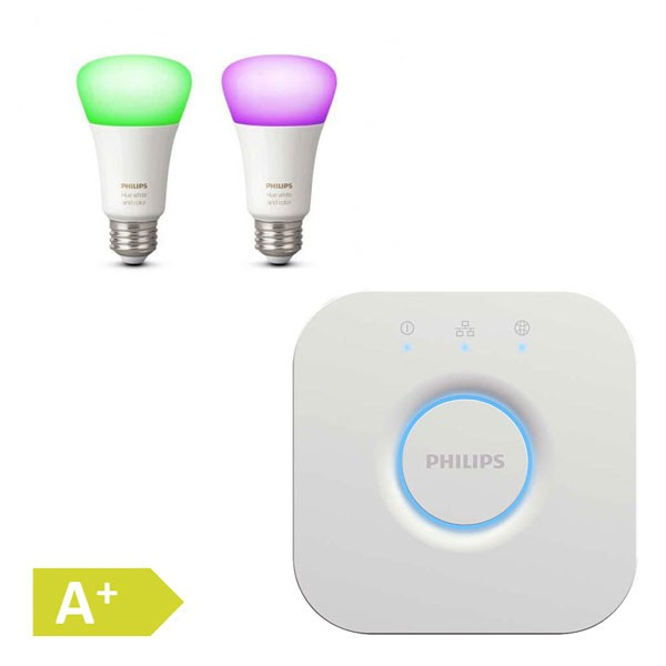 Philips HUE White and Color Ambiance LED E27 Doppelpack + Hue Bridge