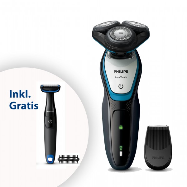 PHILIPS S 5070/92 Rasierer Shaver Series 5000 Aqua Touch + gratis Bodygroom