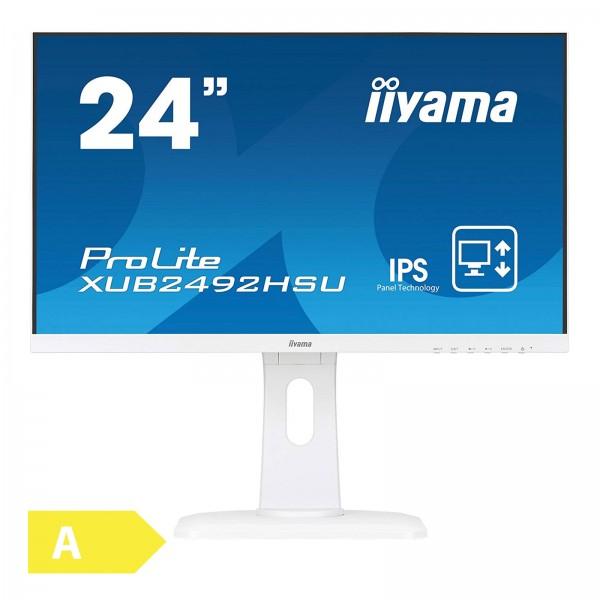 Iiyama PROLITE XUB2492HSU-W1   /1920 x 1080 / 16:9 / 4 ms / HDMI / Lautsprecher / Pivot / höhenverstellbarer Standfuß