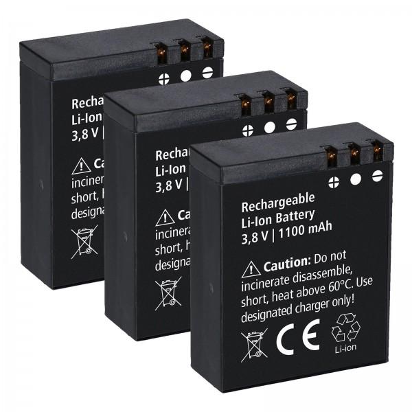 3x Rollei Lithium-Ionen-Akku Battery Aufladbar für Rollei Actioncam 550/560 Touch
