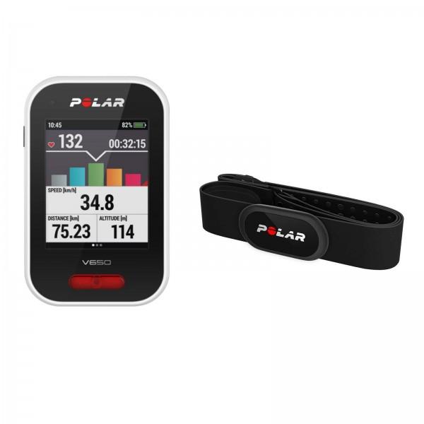 Polar V650 N HR GPS Fahrradcomputer mit Herzfrequenz- Sensor (H10)